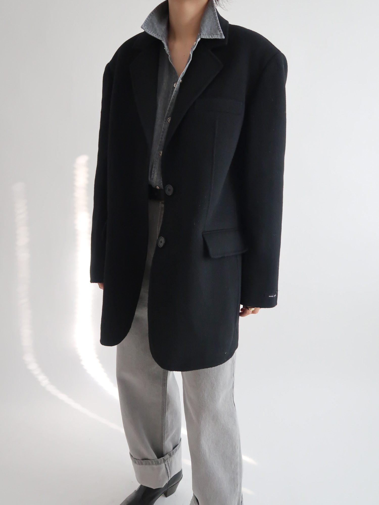 oversized handmade wool  blazer (black)