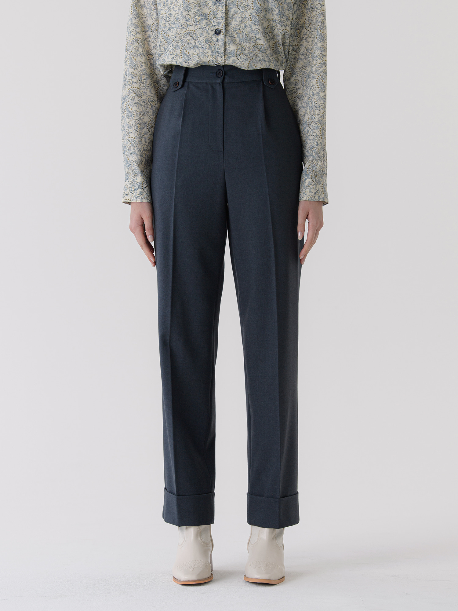 turn-up trouser (navy)